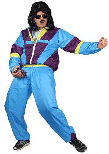 80er Jahre Trainingsanzug Kostüm für Erwachsene | türkis lila gelb | Größe: S – XXXL - 4