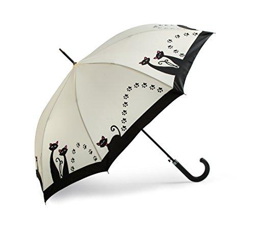 Regenschirm Ivory mit Katzen & Pfoten Motiv / Katzen Automatik Stockschirm Schirm black Cat