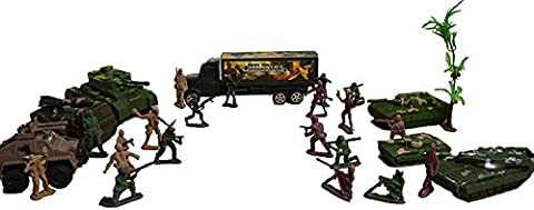 Toy Soldiers Army Figures - Tank Military Set Action Man Army Soldier Toy Set with Lorry Jeep Tank Weapons Machine Gun Fire