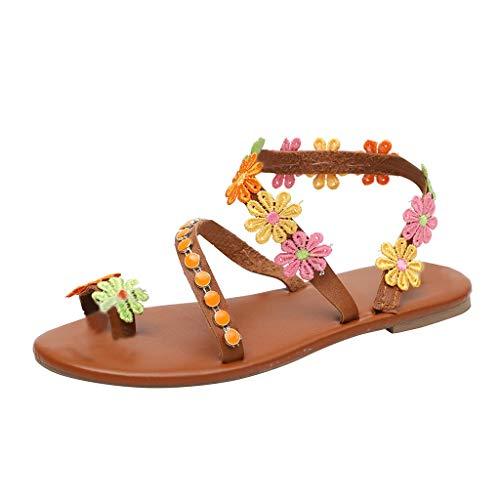 CixNy Damen Sommer Böhmen Flache Badesandale Sandalen Boho Peep Toe Flip Flop Zehentrenner Schuhe Frauen Wulstige Übergröße Sommerschuhe Strandschuhe Pantoletten