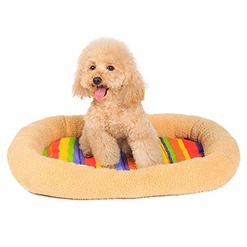 Oval Rechteckiger Tisch (MIAO Ovale Form Pet Kennel Mat Vitalität Bunte Streifen Pet Pad Teddy Pet House Ultra-Dicke Super Soft Waschbar Pet Nest,Brownm)