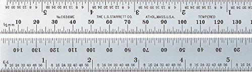 Starrett Präzisionsstahlmassstab mit Millimeter und Zoll Skalierung, 150 mm, C636ME-150