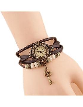 Nikgic Retro Weave Wrap um Leder Armband mit Schlüssel Anhänger Dame Armbanduhr Frauen Quarz Natur Stlye Uhr Khaki...