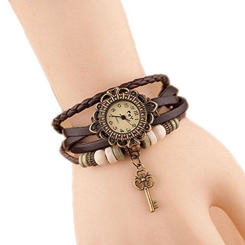 westeng piel Weave Wrap reloj de pulsera señoras reloj de pulsera de cuarzo de las mujeres Vintage encantador con clave colgante Caqui