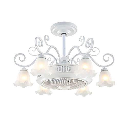 Anfay invisibility e27 ventilatore a soffitto luce con telecomando moderno led ioni negativi ventilatore elettrico lampada interna soggiorno creativo lampada da soffitto,8+flame