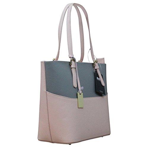 Made in Italy Vera Pelle Echt Leder Damentasche Handtasche viele Farben, Farbe:Natur Grau - Rosa