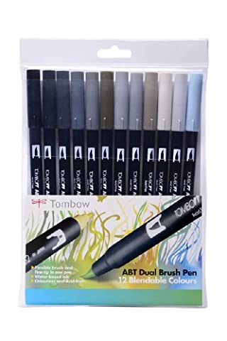 Tombow ABT Lot de 12 stylos duo feutre-pinceau Couleurs
