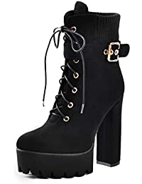 Onlymaker Suede Chunky Heel Lace Up Ankle Boots with Platform for Woman b9313634a1