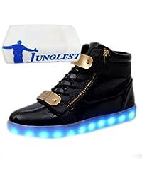 (Present:kleines Handtuch)Schwarz High-Top 40 EU Sneaker Schuhe Unisex-Erwachsene Herren USB Sport Turnschuhe LED Farbe Aufladen JUNGLEST(TM) Leuchtend für 7
