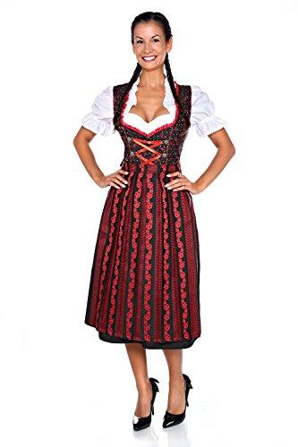 Dirndloutlet Schwarz-Rotes 3tlg. Dirndl mit kontrastreichem Muster Gr.48