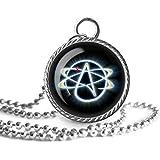 Athiest Collar, Athiesmn, Colgante de imagen de símbolo religioso, joyería de cristal de cúpula, un regalo para ella