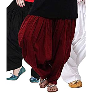 K's Creations Women's Cotton Patiala Salwar Combo (Black, Maroon and White_Free Size)