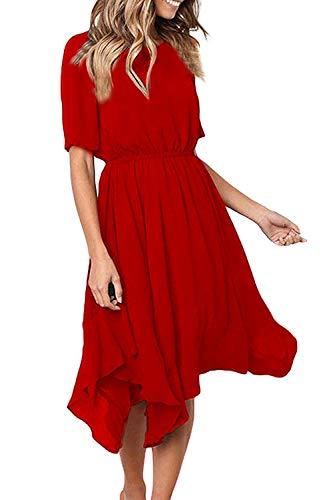 Ancapelion Damen Kleider Chiffon Sommerkleid Kurze àrmel Empire Abendkleid Lässiges Cocktailkleid Ungefüttert Midi Kleid Unregelmäßiger Saum, Rot-1, S(EU 34-36)