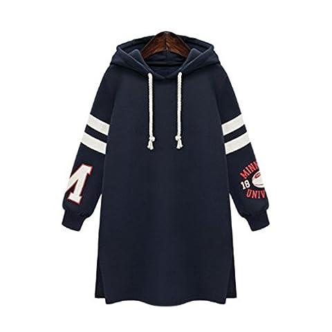 FriendG Autumn Winter Fashion Womens Plus Size Hooded Long Sweatshirt Casual Coat Tops Pullover (XXXXL, Dark Blue)