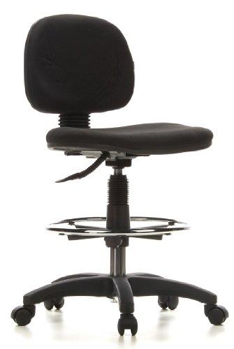 hjh OFFICE 648000 silla de trabajo TOP WORK 08 tejido negro, taburete, asiento ergonómico, con respaldo, buen acolchado, muy cómodo, apoyapiés cromado, especialmente alto, ajuste de altura, estable