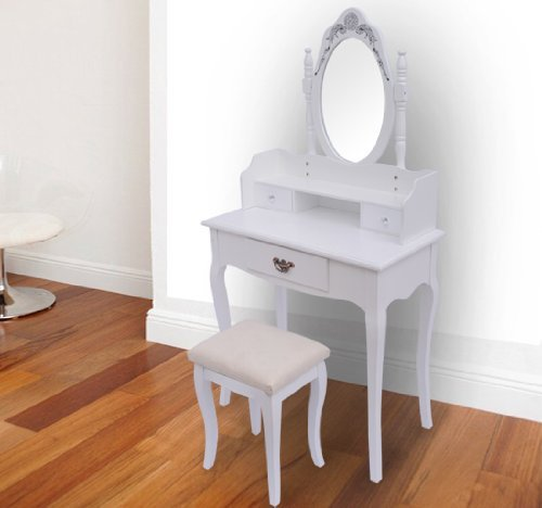 CLEARANCE Homcom Dressing Table with Stool Mirror Elegant White Make-up Hair Nail Drawers Bedroom Desk NEW