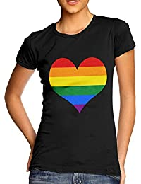 Twisted Envy Women's Cotton Gay Pride Full Heart Rainbow Graphic T-Shirt