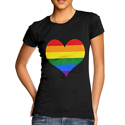 c509c5aa9bf69 TWISTED ENVY Funny T Shirts Gay Pride Rainbow Heart Women s T-Shirt Large  Black