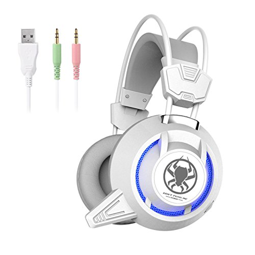 LESHP Gaming Headset mit Mikrofon LED und Vibration Effekt für PS4 PC Film Gaming Spielen Chat Musik ,weiß