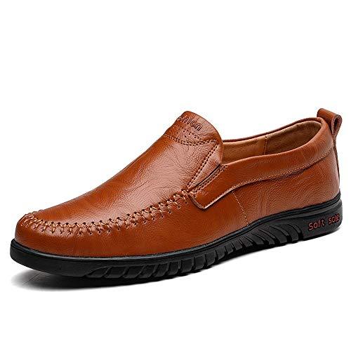 YIJIAN-SHOES Herren Oxford Schuhe Herrenmode bequemes Fahren Penny Loafer Slip auf Stil Weiche Mikrofaser Leder Oxfords Stitching Boat Mokassins Kleid Oxford Schuhe (Color : Braun, Größe : 39 EU) Plain Toe Slip
