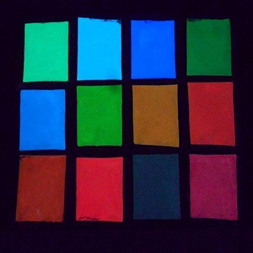 uchic 12pcs 12colores Uñas Polvo luminoso brilla en la oscuridad Glow Polvo luminoso fluorescente de pigmentos en polvo