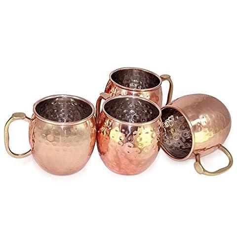 Dungri India ® À la main La meilleure qualité 100% pure Copper Mug pour Moscow Mules 550 ML / 18 oz, Set of 4, Copper Plating Stainless Steel Meilleure qualité