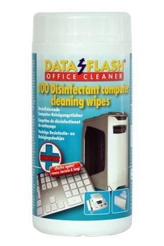 Nasse Reinigungstücher (Desinfizierende feuchte Reinigungstücher, Nasse, Dataflash DF1712, 100x in Spender Box für PC und Bürogeräte, Büro Desinfektion, DF1712)