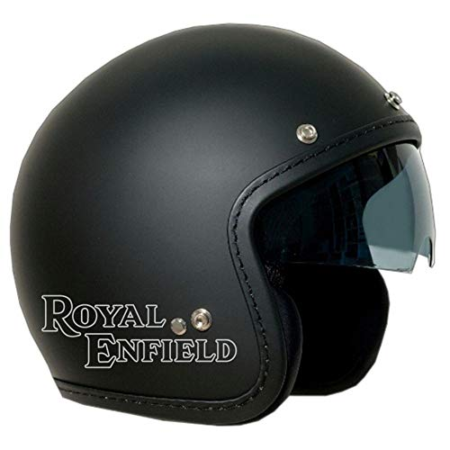BRIXIA CASCO JET OLD ONE NERO SATINATO VISIERA FUME' LOGO ROYAL ENFIELD ARGENTO XL