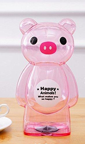 Süß und lustig Kunststoff Transparent Tier Cartoon Sparschwein Kreative Kinder Spardose (Rosa Schwein)