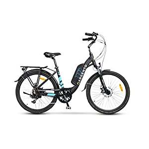 """4127XzWQhNL. SS300 Argento Omega, Bicicletta Elettrica City Bike, Assicurazione AXA """"Tutela Famiglia"""" inclusa, Ruote Kenda 26'', Unisex, Blu, Telaio 44 cm"""