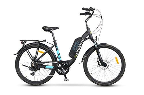 Argento Omega, Bicicletta Elettrica City Bike, Assicurazione AXA 'Tutela Famiglia' inclusa, Ruote Kenda 26'', Unisex, Blu, Telaio 44 cm