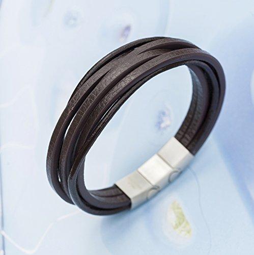 Murtoo Acier inoxydable Bracelet Multi Tissé De Promesse Pour Couples Et Les Amoureux avec L'Affection Marron 2