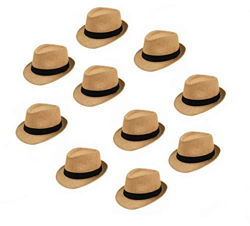 Sonnenscheinschuhe® Leichter Sommerhut Bigpack: 10 x Hut braun mit schwarzem Band klassisch Männer Frauen 10 X Stroh