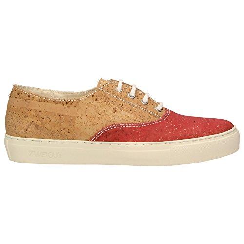 ZWEIGUT® -Hamburg- echt #406 Damen Sneaker vegane Korkschuhe auf federleichter Laufsohle, Schuhgröße:37, Farbe:rot-kork - 2
