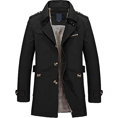 M&C Hombres de algodón lavado chaqueta grande longitud media del uno mismo - chaqueta de ocio de cultivo , black , 5xl