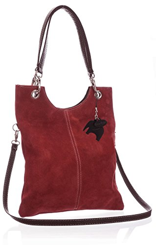 Big Handbag Shop - Borsetta senza manici donna (Red (LL326))