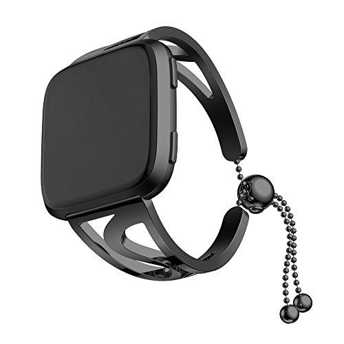 Für Fitbit Versa, Edelstahl Metall Kristall Uhrenarmband, Art Perlen Ersatz Armband Strap, Girly Handschlaufe Watch Band (Schwarz)