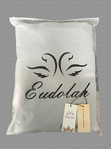 Eudolah Robe de soiree ceremonie longue en mousseline avec effet plisse et ceinture ornes en perles Femme Bleu Ciel