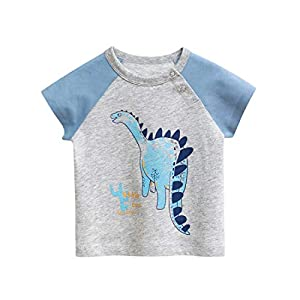 PAUBOLI Camisas de algodón de manga corta para niños pequeños 1 – 5 T 9