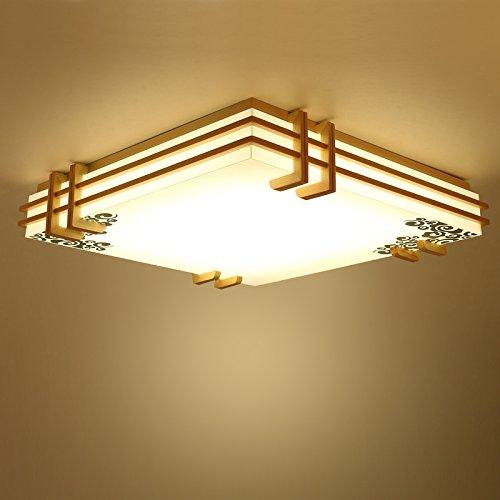 CHJK BRIHT Minimalistischen japanischen Lampen-LED Lampe mit Massivholz- und Protokolle der chinesischen Vellum Wohnzimmer Schlafzimmer ,450mm Deckenleuchte