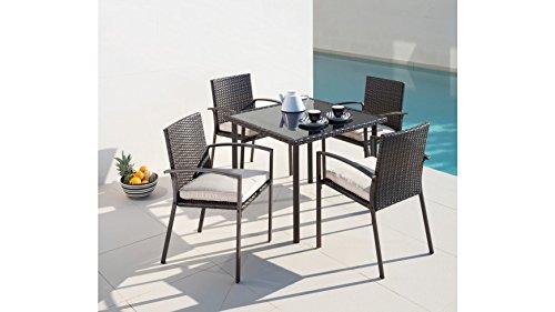 baumarkt direkt 9-tlg. Gartenmöbelset Victoria, 4 Sessel, Tisch 90x90 cm, Polyrattan, braun braun
