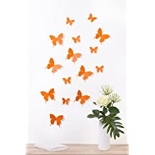 """Bilderdepot24 """"Papillons, style 3D"""" - ORANGE ? lot de 15 pièces avec leurs points de colle pour fixage simple- marchandise de choix 100% fabriquée en Allemagne!"""