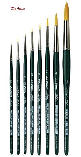 Da Vinci Serie 1570 agua Color cepillo, fibra sintética, verde, NOVA no.10/0, 5/0, 3/0, 2/0, 0 ,2 ,6, 12.