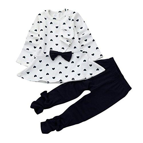 ☻Huhu833 Neugeborene Baby Kinder Mädchen Kleinkind Tops + Hosen 2 Stück Herbst Ausstattungs Kleidungs Sätze (Weiß, 18M-90CM) (Neugeborenen Ausstattung)