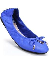 SHINIK Zapatillas de ballet plegables para mujer Aros Zapato en forma de cuero genuino , blue , 41