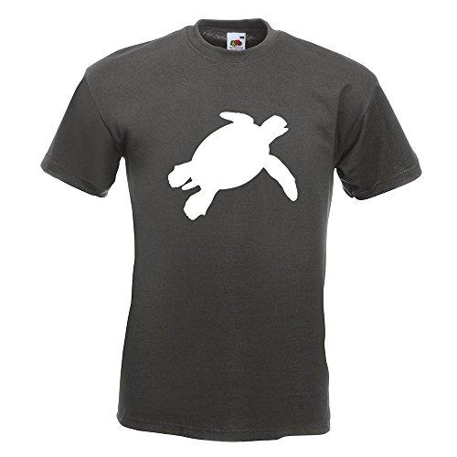 KIWISTAR - Schildkröte Silhouette T-Shirt in 15 verschiedenen Farben - Herren Funshirt bedruckt Design Sprüche Spruch Motive Oberteil Baumwolle Print Größe S M L XL XXL Graphit