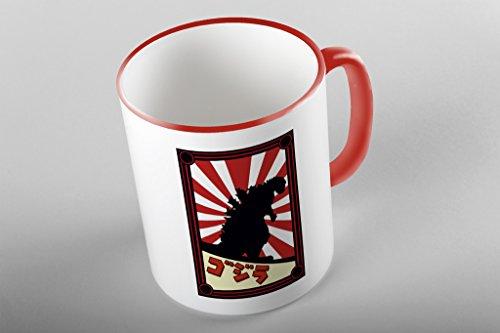 Bullshirt 's Japanische Monster Poster Print rot bicolor Tasse. weiß / - Godzilla Poster-japanisch