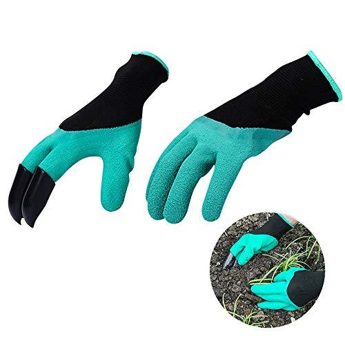 Amaoma Garten Werkzeug Handschuhe,Wasserdicht Gartenhandschuhe mit klauen Anti-Krawatte Verschleißfest Gartenarbeit Handschuhe mit ABS-Kunststoff Krallen für Graben & Pflanzen 1 Pairs (Handschuh Mit Krallen)