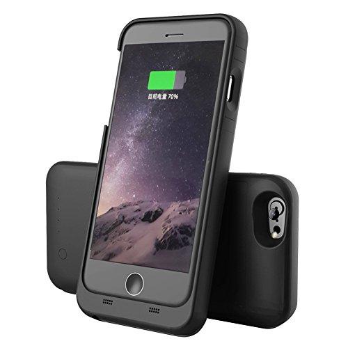 SUPEREX Batteriehülle 3200mAh sehr schlanke wieder aufladbare erweiterbare schützende externe Batterie Backup Ladehülle tragbares Ladegerät für iPhone 6 / 6s (4.7 Zoll) [Apple MFi zertifiziert] - schwarz
