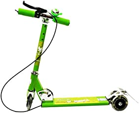 Kids Mandi Smash Street Foldable 3 Wheel Scooty for 3 to 12 Years Old Children with Brake (Green)
